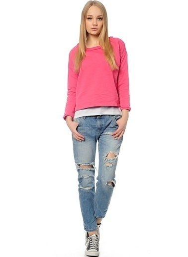 T-Box Sweatshirt Pembe